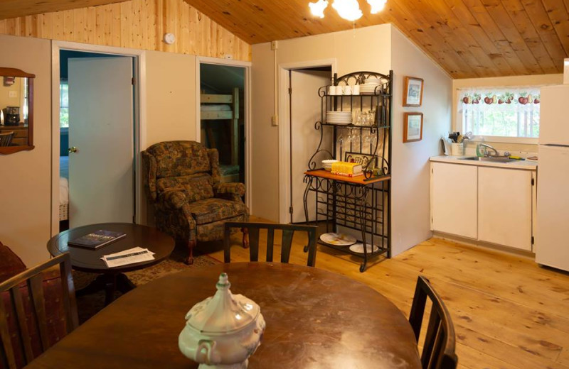 Cottage interior at Mattawa River Resort.
