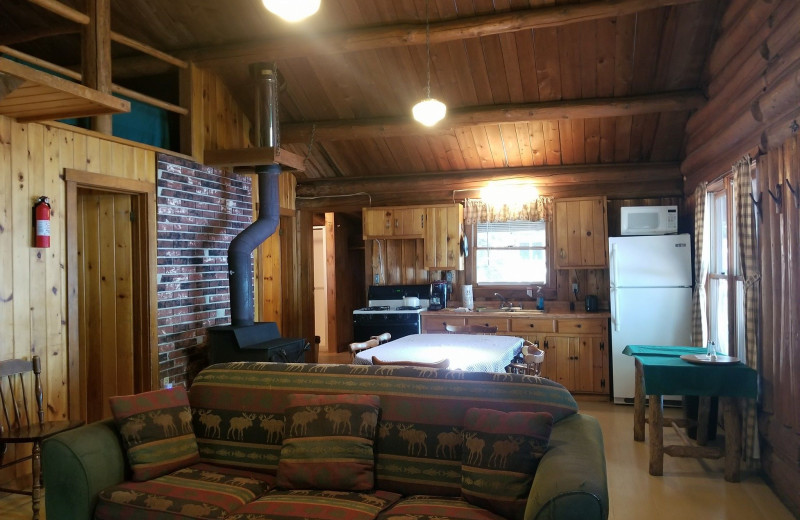 Cabin interior at The Birches Resort.