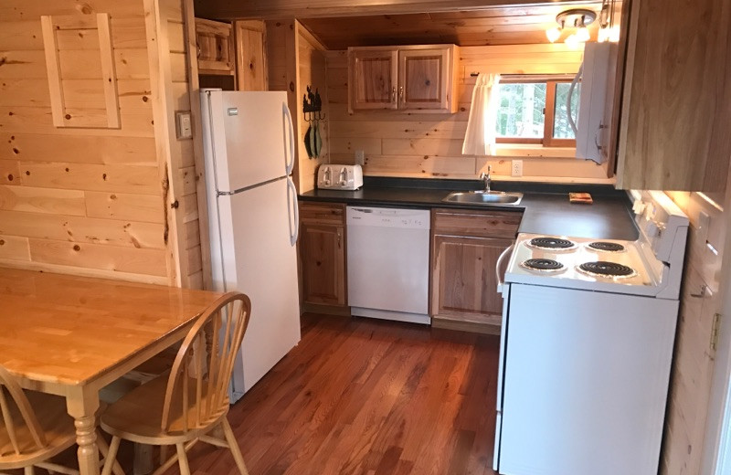 Cabin kitchen at Timber Trail Lodge.
