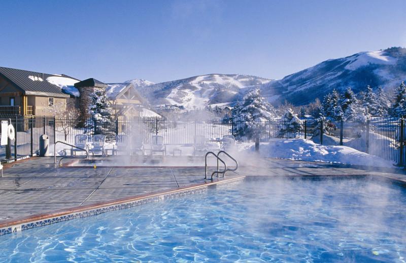 Outdoor pool at Park City Peaks Hotel.