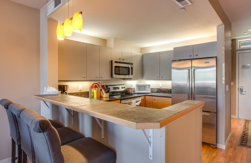 Rental kitchen at Sage Vacation Rentals.