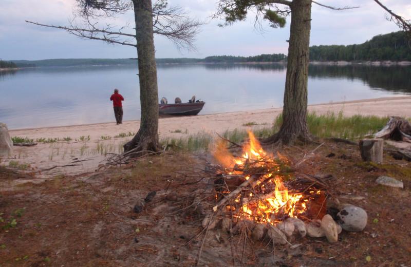 Bonfire at Maynard Lake Lodge and Outpost.
