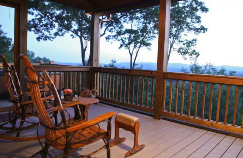 Cabin deck view at Mountain Getaway Cabin Rentals.