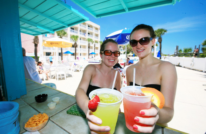 Drinks by the pool at Holiday Isle Oceanfront Resort.
