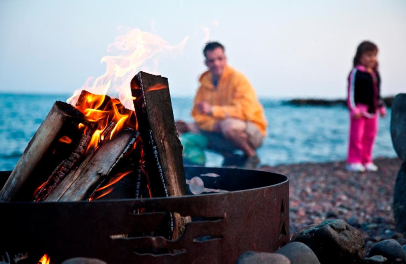 Beach bonfire at Bluefin Bay on Lake Superior.