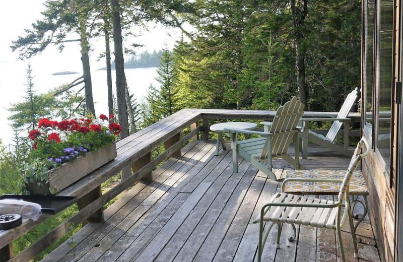 Rental balcony at Acadia Cottage Rentals.