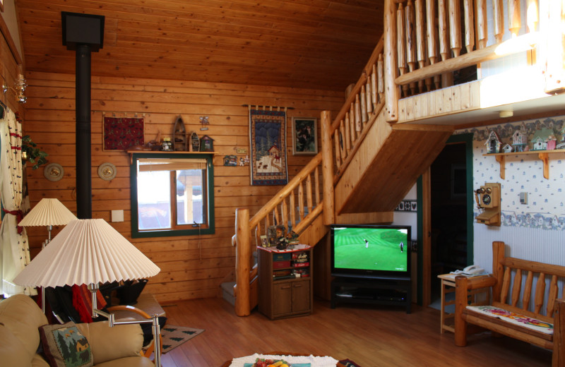 Cabin living room at Gingerbread Cabin.