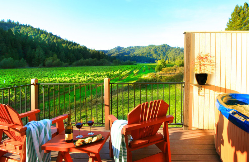 Guest balcony at West Sonoma Inn and Spa.