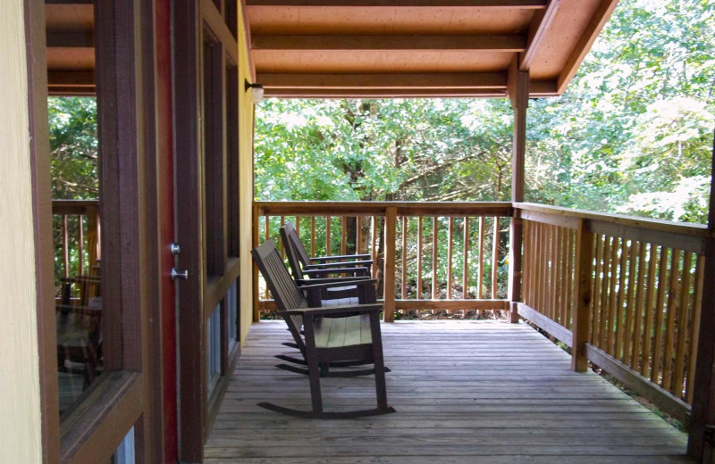 Cabin deck at Golden Arrow Resort.