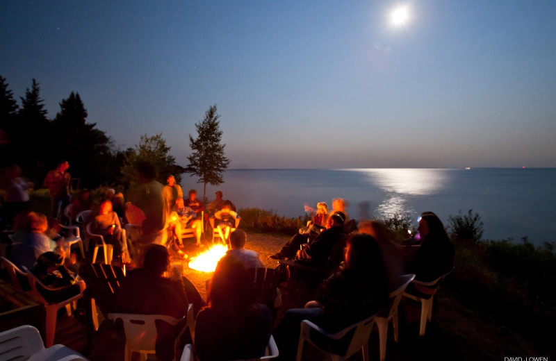 Bonfire at Grand Superior Lodge on Lake Superior.