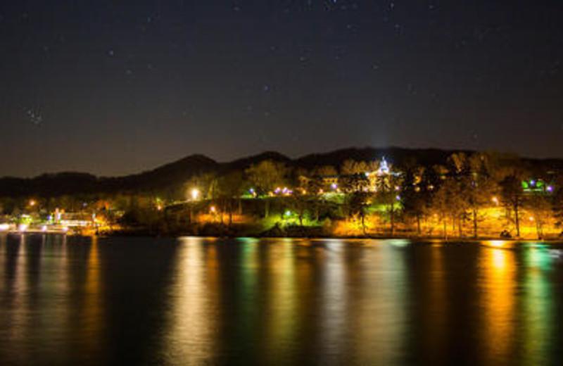 Lights reflect on the water at Lake Junaluska Conference and Retreat Center.
