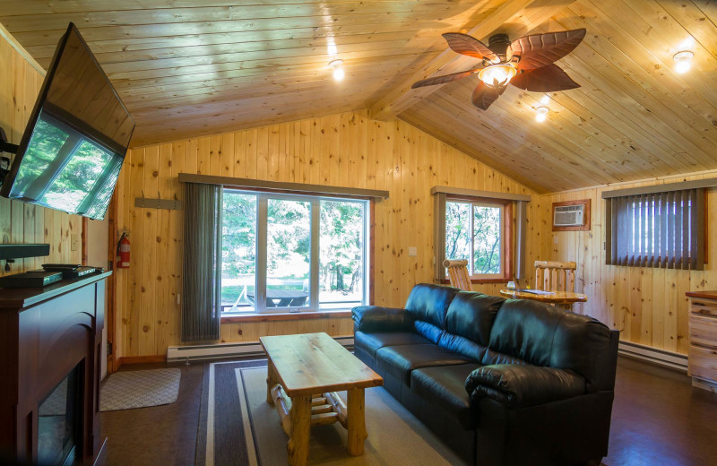 Cabin living room at Tallpine Lodges.