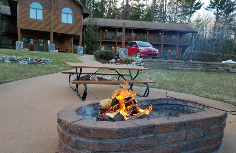 Fire pit at Northwoods Lodge.