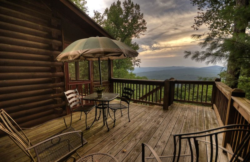 Rental deck view at Blue Sky Cabin Rentals.