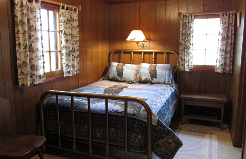 Cabin bedroom at Trout Lake Resort.