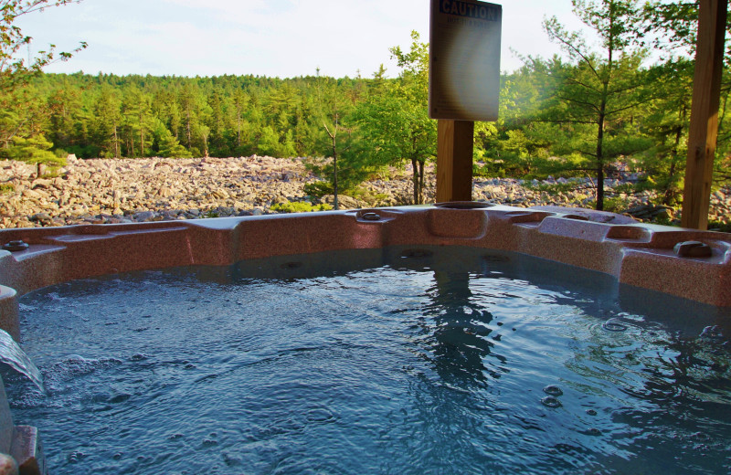Hot tub at Pocono Mountain Rentals.