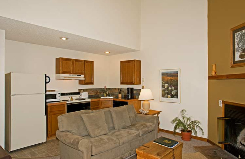Suite kitchen and living room at Woodlands On Fall River.