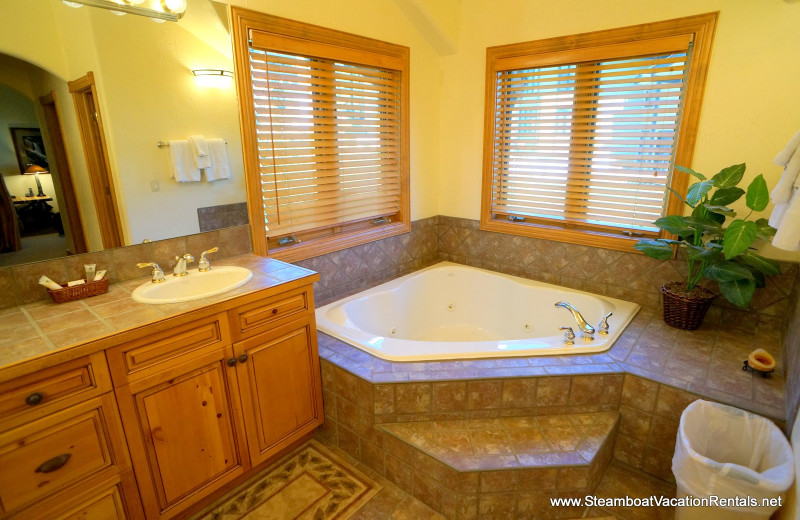 Rental bathroom at Steamboat Vacation Rentals.