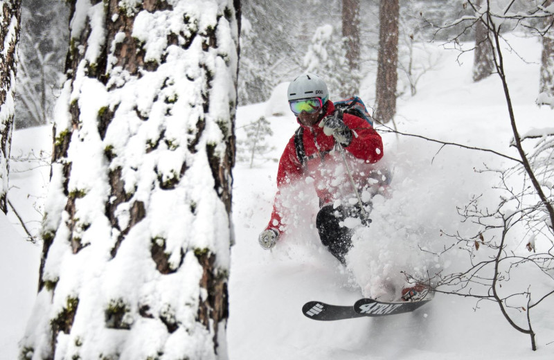 Skiing at Oxen Yoke Inn.