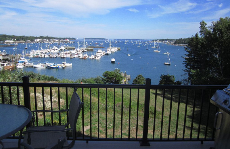 Rental balcony view at Acadia Cottage Rentals.