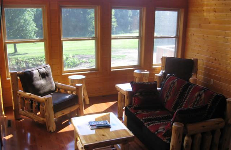Living room at Red Cedar Lodge.