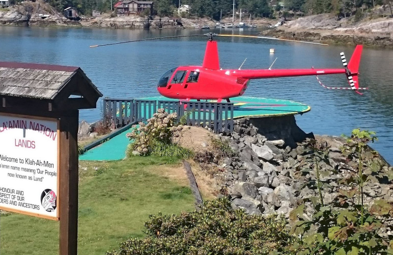 Helicopter at Historic Lund Hotel.