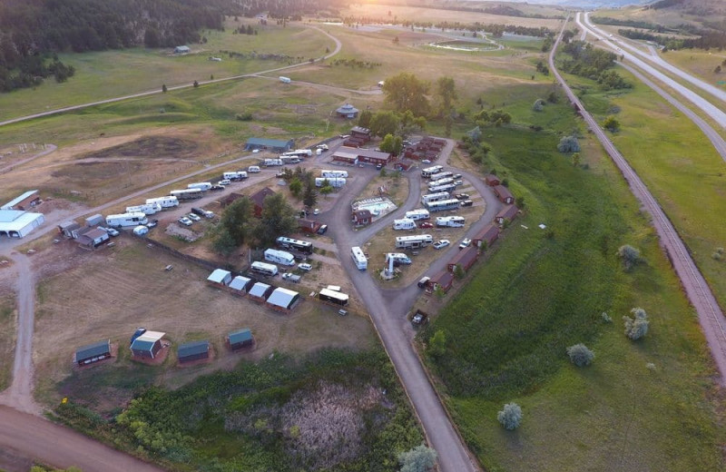 Aerial view of No Name City Luxury Cabins.