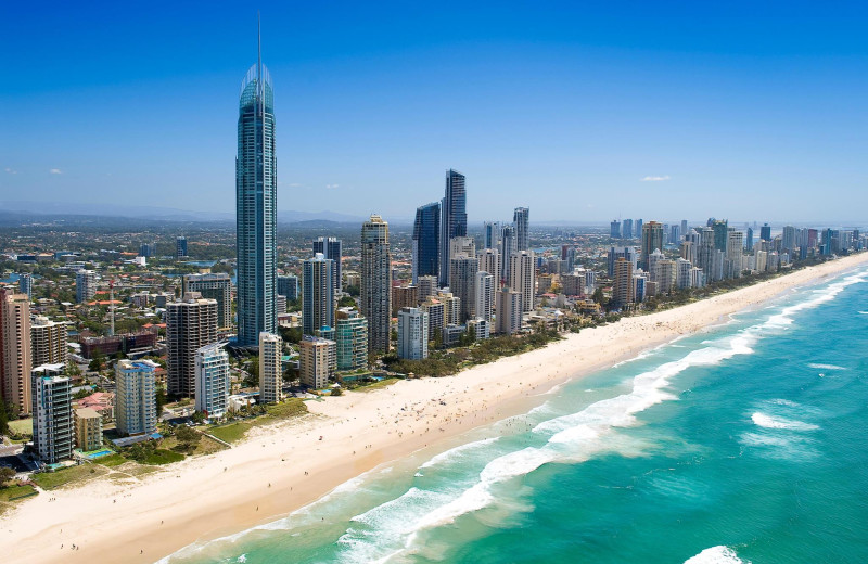Aerial view of International Beach Resort.