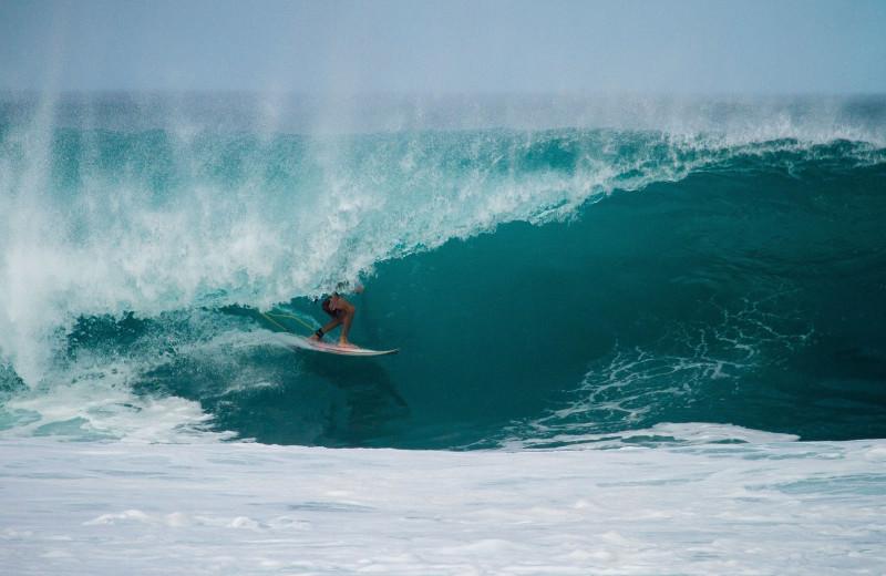 Surfing at Aqua Breeze Inn.