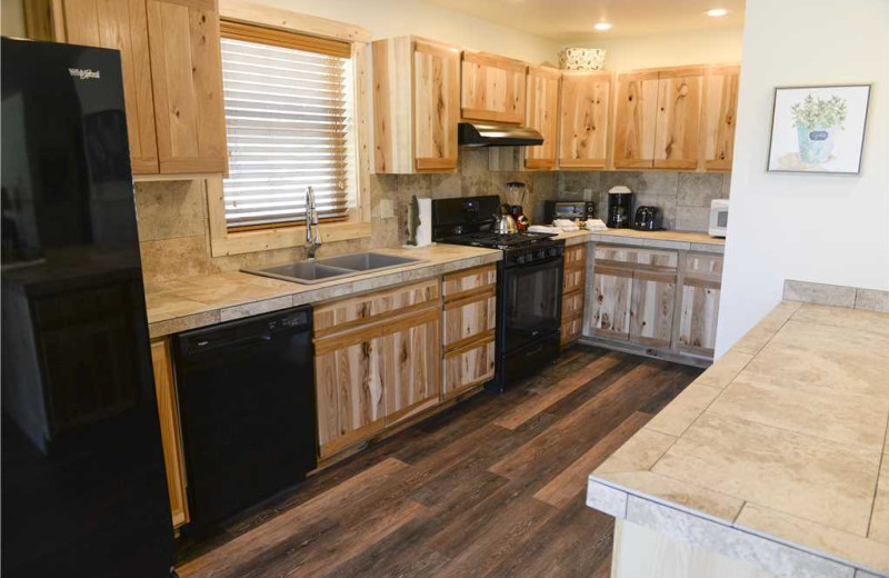 Cabin kitchen at Three Rivers Resort & Outfitting.
