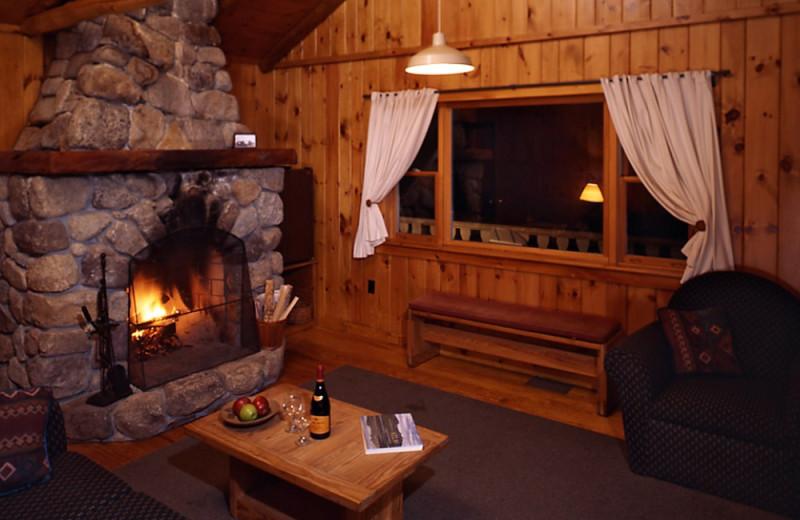 Cornelia Cottage living room at Elk Lake Lodge.