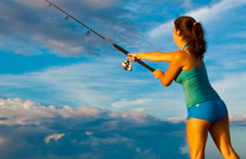 Girl Fishing at Hatteras Realty