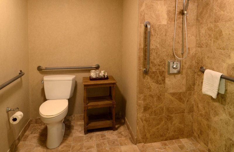 ADA guest bathroom at Gainey Suites Hotel.