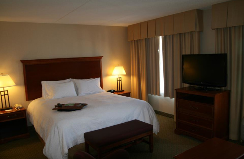 Guest Room at the Hampton Inn & Suites Kitchener