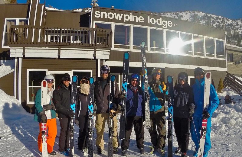 Skiing group at Snowpine Lodge.