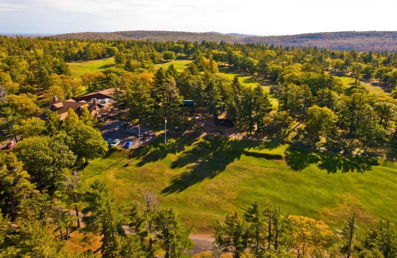 Aerial view of Keweenaw Mountain Lodge.