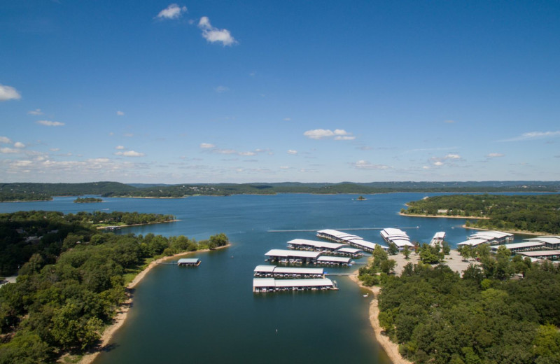 Aerial view of Vickery Resort On Table Rock Lake.