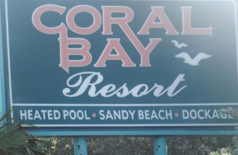 Resort sign at Coral Bay Resort.