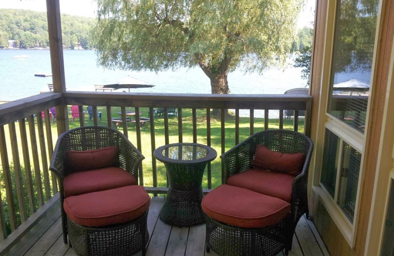 Cottage porch at Ogopogo Resort.