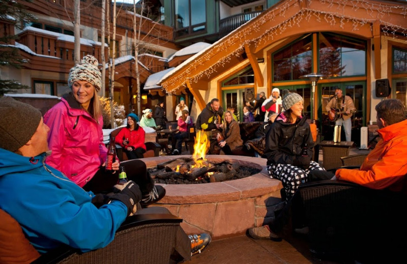 Keeping warm by the fire at The Lodge At Vail.