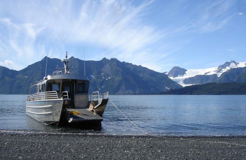 Boat at Kenai Fjords Glacier Lodge.