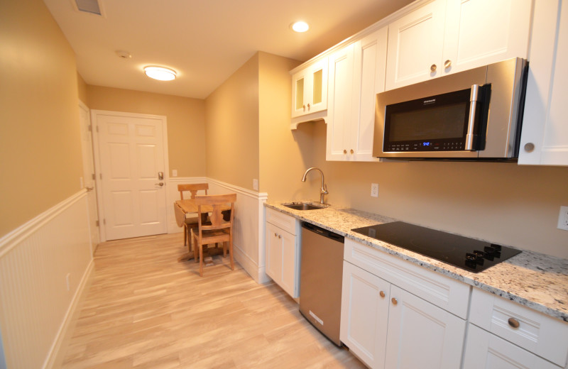 Guest kitchen at Waters Edge B&B Resort.
