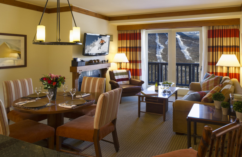 Guest room at Stowe Mountain Lodge.