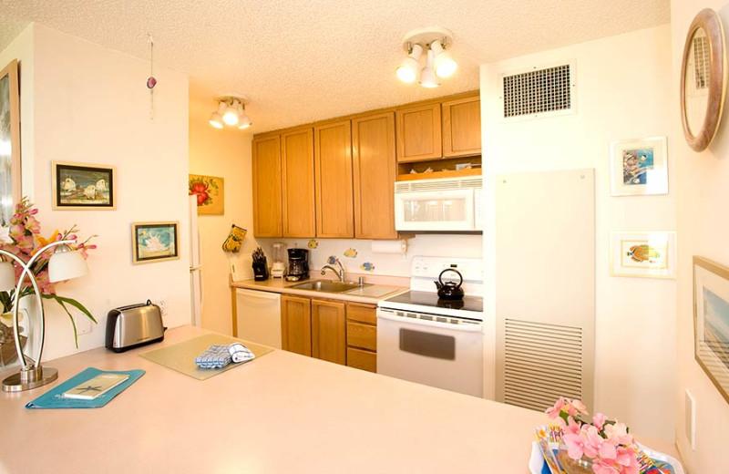 Vacation rental kitchen at Sugar Beach Resort.