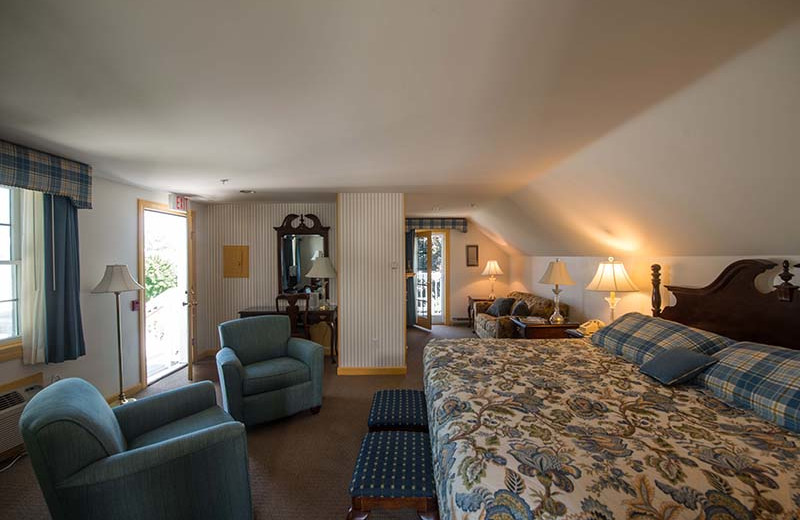 Guest bedroom at The Sparhawk Oceanfront Resort.