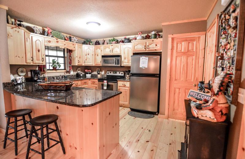 Rental kitchen at Little Bear Rentals.