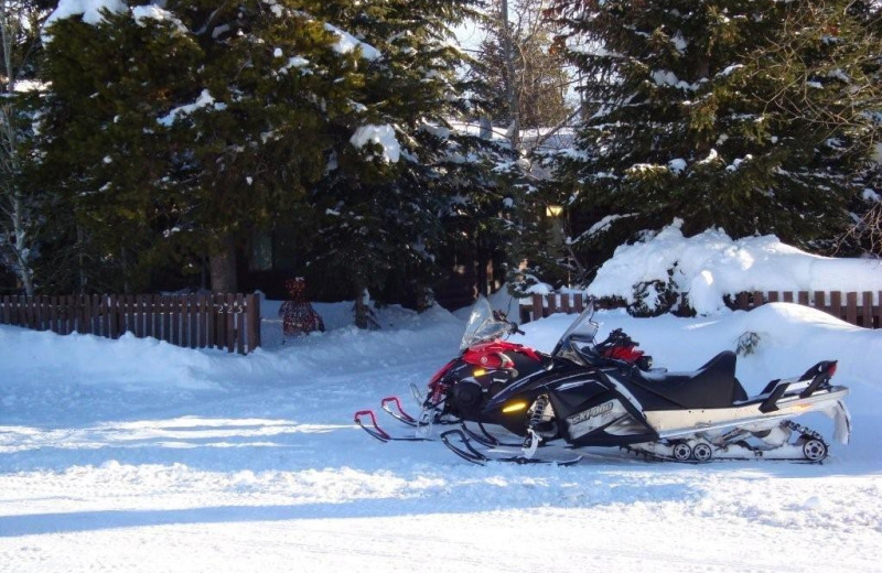 Snowmobiling at Yellowstone Wildlife Cabins.