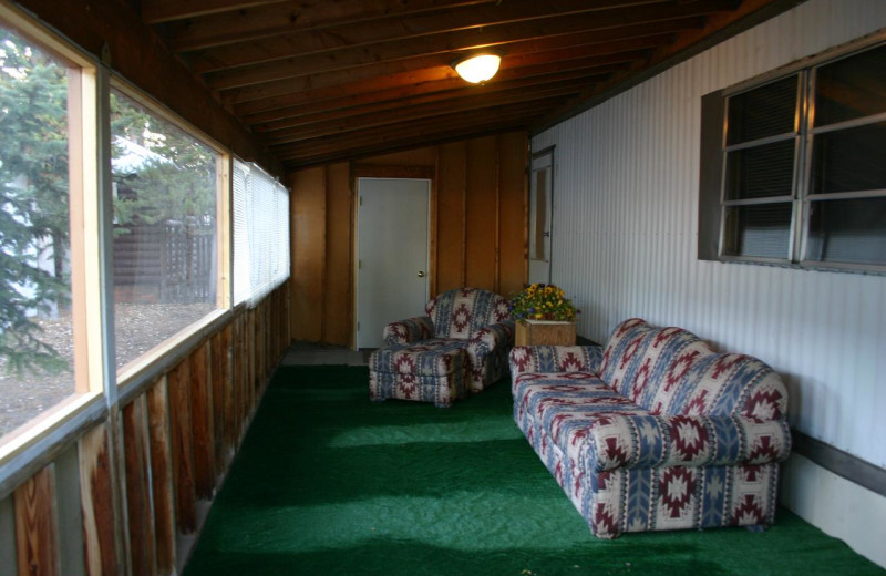Cabin porch at Yellowstone Wildlife Cabins.