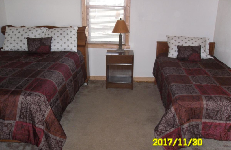 Cabin bedroom at Red School Resort.