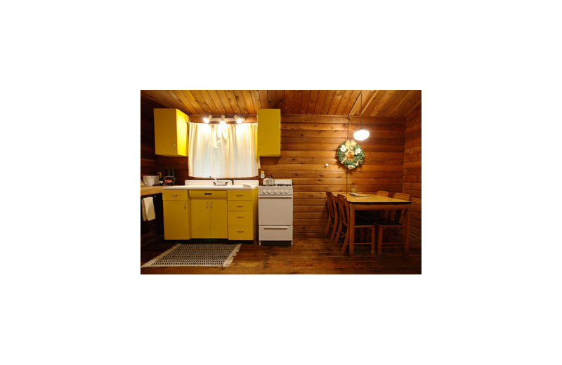 Cabin kitchen at Grace Haven.